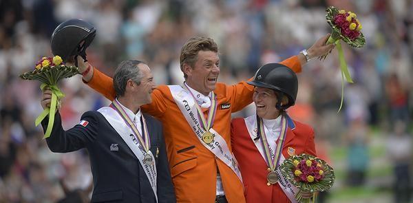 WEG 2014 on the podium: 1) Jeroen Dubbeldman, 2) Patrice Delaveau, 3) Beezie Madden