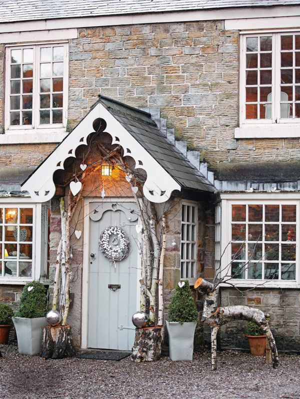 Charming  farmhouse with a beautiful entrance porch and front door.  If you like this pin, why not head on over to get similar inspiration and join our FREE home design resource library at http://www.TheHomeDesignSchool.com/signup ?