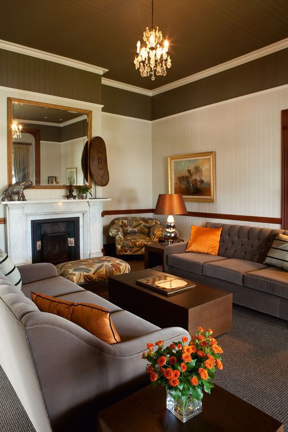 17 best ideas for redoing my family room images on - Orange and brown living room ideas ...