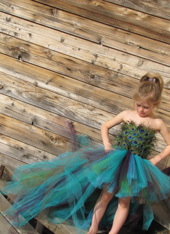 Peacock Costume, Feather dress, Flower girl feather Tutu Dress, Peacock dress…