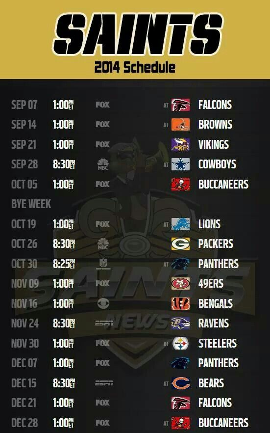 2014 Schedule New Orleans Saints