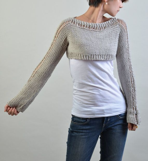 Hand knit sweater Little shrug cover up top in light