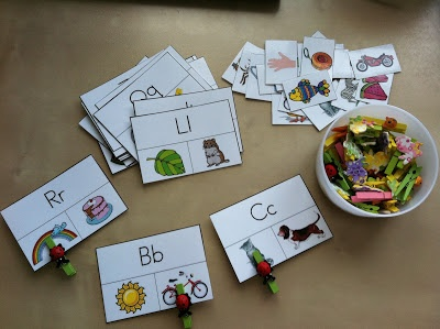 Phonics Pin 2: This activity is Clothespin cards. Activity cards will have a letter with two pictures underneath. Students will have to recognize the letter and select the picture that starts with the same letter. Students will select their answer by pinning a clothespin on the picture.