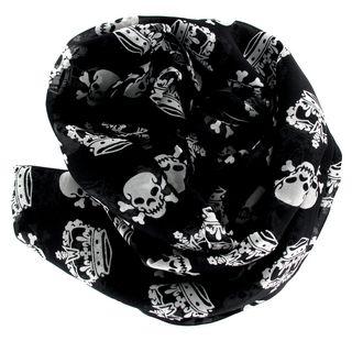 Très grand foulard noir avec têtes de mort et couronnes