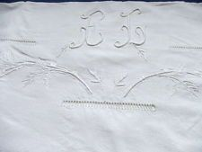 Superb Vintage French Linen Sheet with Monogram EL & Embroidered Flowers c.1930 - $33.26