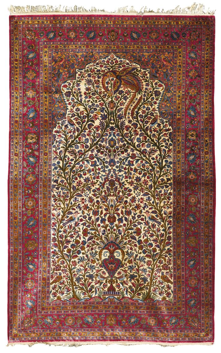 A Kashan Silk Prayer Rug Central Persia Lot Sotheby S