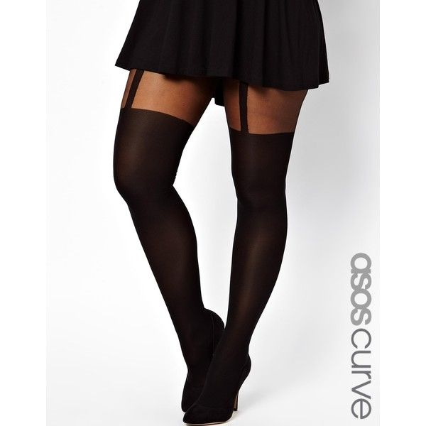 ASOS CURVE Plain Stripe Suspender Tights ($12) ❤ liked on Polyvore featuring intimates, hosiery, tights, plus size, asos, doll parts, black, black suspender tights, black tights and black pantyhose