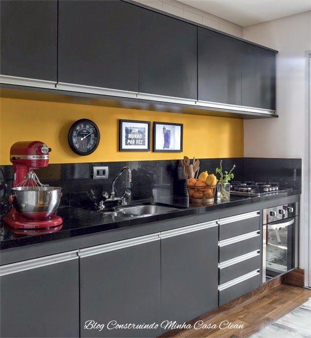 Cozinhas Modernas com Cinza!!! Pequenas e Grandes!  Armários e Pesquisa # Armario De Cozinha Cinza E Branco