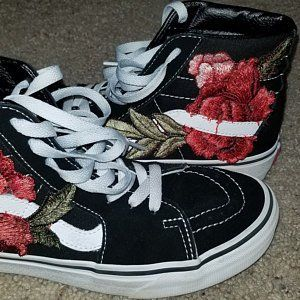 bb4d9b87cdafe Bright Colors! Custom Rose Floral Embroidered Patch Vans Sk8-HI in ...