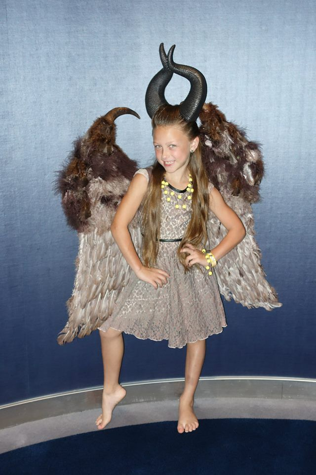 32 best diy young maleficent costume ideas images on pinterest a impish looking jadyn modeling her homemade young maleficent halloween costume on their disney halloween cruise solutioingenieria Images