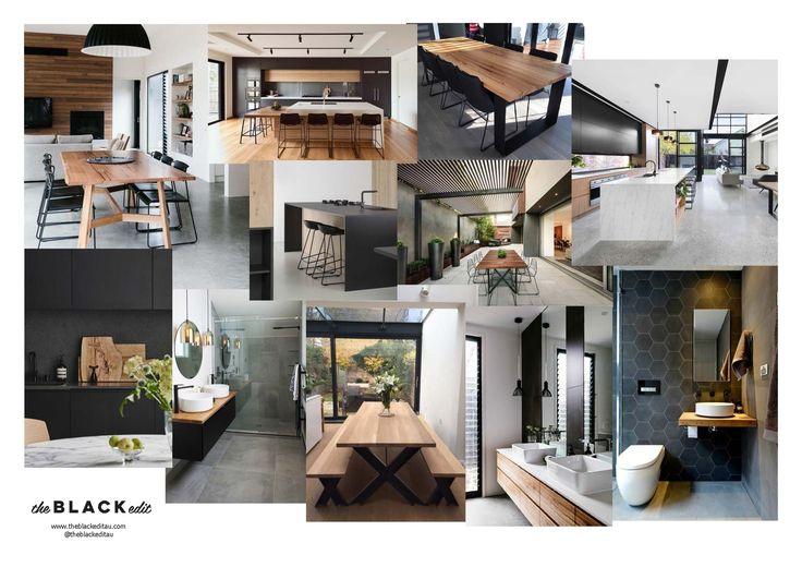 black and timber e-design packagae mood board - industrial, edgy, moody, dark interior