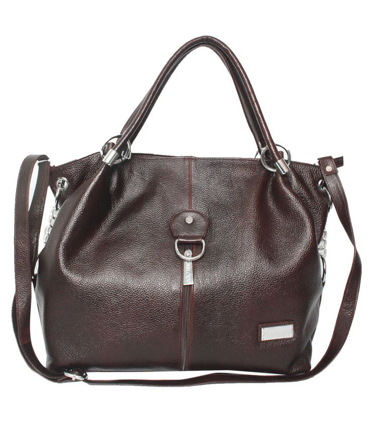 Comfort 15 inch Pure Brown Leather Handbags for Women and Girls EL57