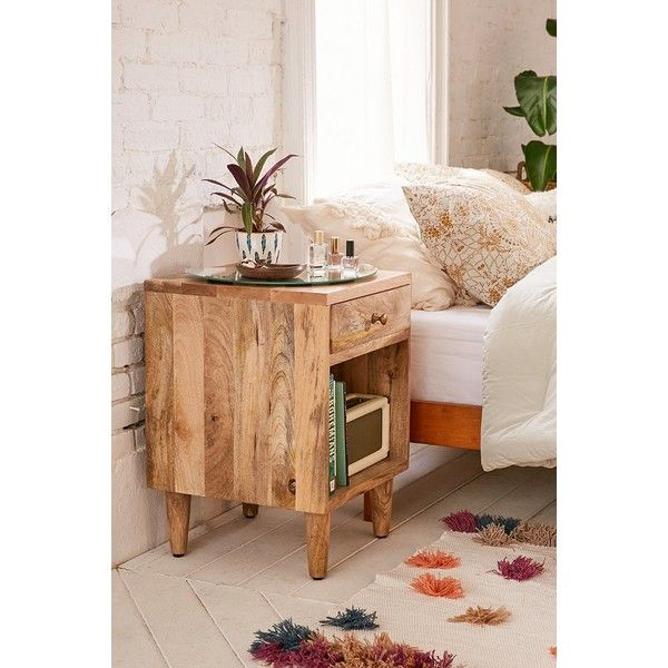 Amelia Nightstand found on Polyvore featuring polyvore, home, furniture, storage & shelves, nightstands, drawer shelves, urban outfitters, mango wood shelves, drawer shelf and drawer nightstand