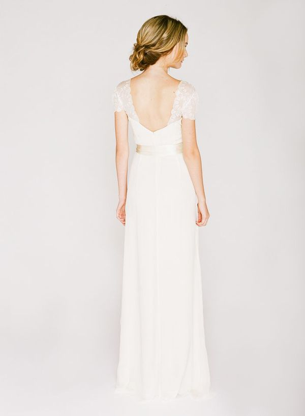 simple cap sleeve saja wedding dress
