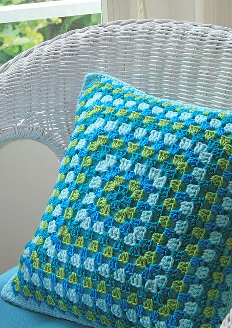 Crochet pillow, inspiration. Simple pillow. Love the colors used!