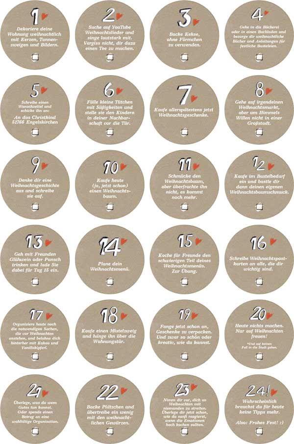Adventskalender für Erwachsene: 24 Weihnachtsstimmungs Aufkleber mit weihnachtlichen Aufgaben für die Adventszeit, runde Sticker, 40mm - Beige