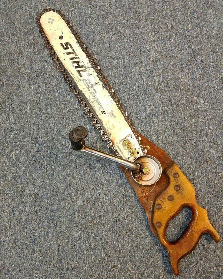 Hand operated chainsaw. LoL.