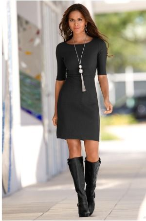 Boston Proper Elbow sleeve travel dress...  I would love if my boots looked good with my dresses.
