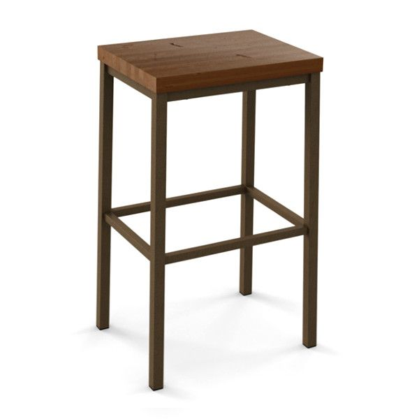 "Bradley Stationary Stool - Viking Casual Furniture. From Amisco  Available in: 26"" and 30"" Padded Memory Seat. Available in 12 metal finishes. Dozens of seat fabrics. Four Wood finishes to choose from."