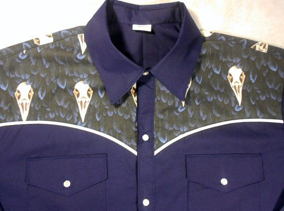 LIMITED EDITION - ONLY 3 available -- As unique as you are!  You will NOT see this shirt anywhere else as the fabric is custom ordered. This raven skull fabric is not available from commercial or retail fabric sellers. Men's western shirt