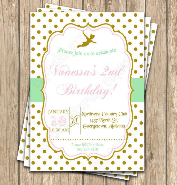 Peter Pan Inspired Dressy Birthday Party Invitation DIY by CupcakeExpress tinkerbell gold mint pink