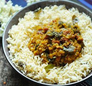 Dal de lentilles accompagné d'un riz coco