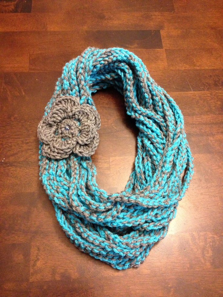 Crochet Chain Scarf double turn in color Turquoise/Gray!!