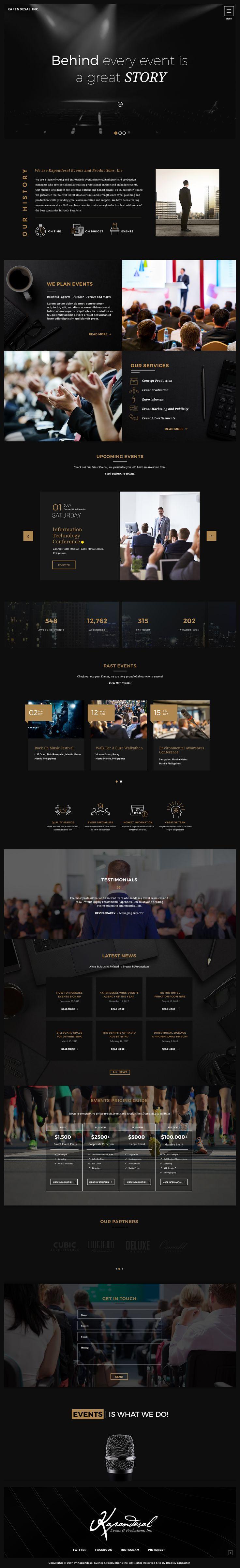 Events Agency Landing Home Page Website Design Dark Theme UI        Designed by Bradley Lancaster  www.bradleylancaster.com    #branding #corporate #design  #events #flat #landing #page  #minimal #production #ui #ux  #website