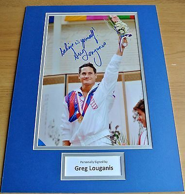 Greg louganis #signed autograph 16x12 #photo #mount display olympic diving & coa,  View more on the LINK: 	http://www.zeppy.io/product/gb/2/391424370940/