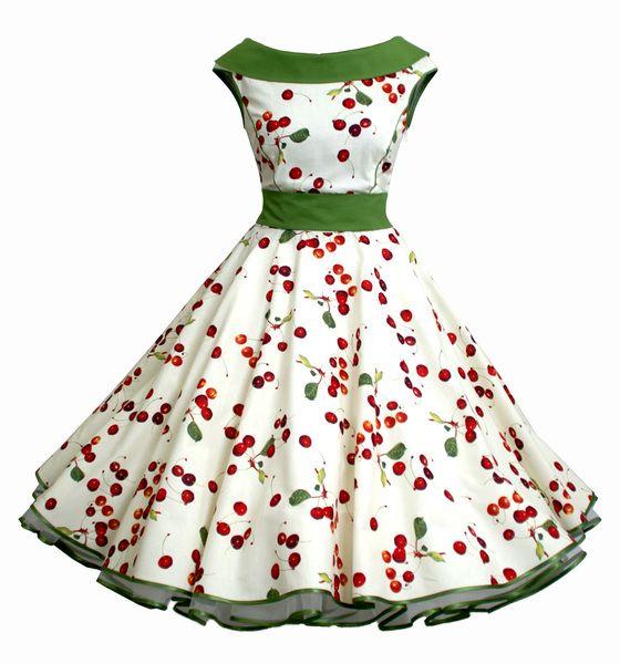50er Petticoatkleid Creme Grün Rot Kirschen von Charlott-Atelier / 50er- Mode auf DaWanda.com