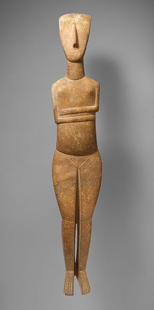 Standing female figure, c. 2600-2400 b.c., early cycladic, marble