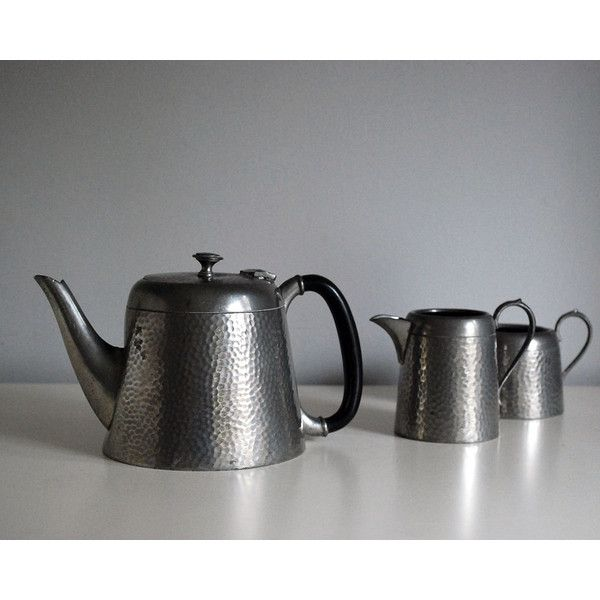 1920s Argent Pewter Tea Set English Teapot Vintage Creamer Open Sugar... ($65) ❤ liked on Polyvore featuring home, kitchen & dining and craftsman