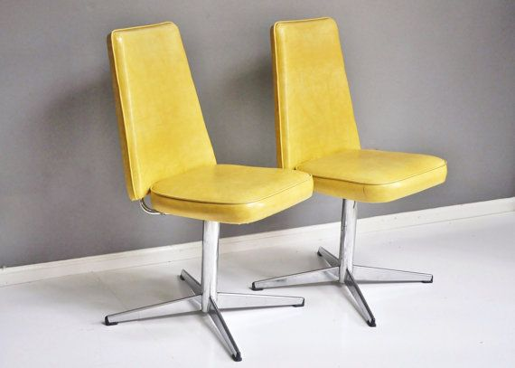 Vintage Pair of Yellow Vinyl and Chrome Swivel by thewhitepepper