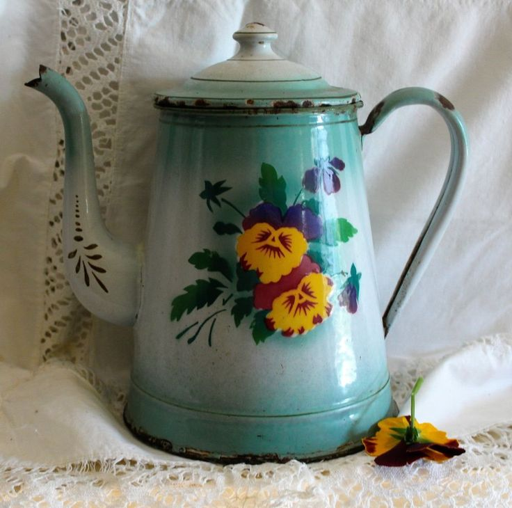 French Forest Green Vintage Enamelware Coffee Pot with Pansies