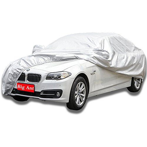 Big Ant Breathable Car Cover-Waterproof Full Size Sedan Cover Custom Fit Sedan Up to 190 Inches-Sliver. For product info go to:  https://www.caraccessoriesonlinemarket.com/big-ant-breathable-car-cover-waterproof-full-size-sedan-cover-custom-fit-sedan-up-to-190-inches-sliver/