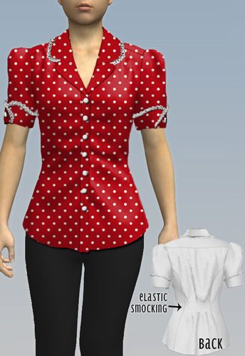 1940s Inspired Blouse  by Amber Middaugh