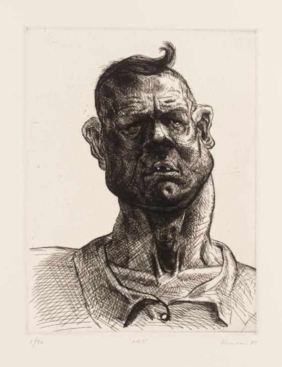 Peter Howson 'Ned', 1987, 32x24.5cm, etching on paper.