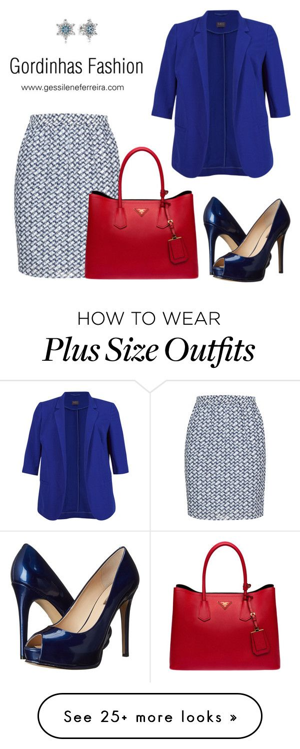 """""""plus size"""" by gessilene-ferreira on Polyvore featuring M&S Collection, Studio, GUESS, Prada and Pandora"""