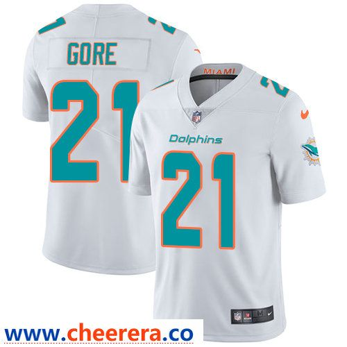 best sneakers 383f3 d2241 Nike Miami Dolphins #21 Frank Gore White Men's Stitched NFL ...