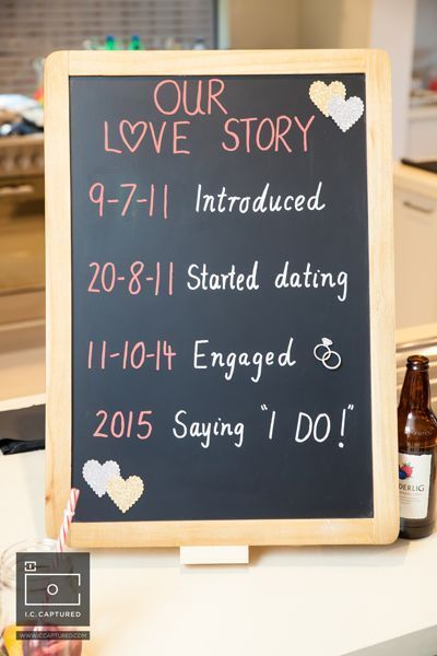 Simple details such as blackboards with a timeline of your love story add a great detail to your wedding or engagement function - modern Indian wedding - DIY engagement party decor - fun engagement party ideas #thecrimsonbride