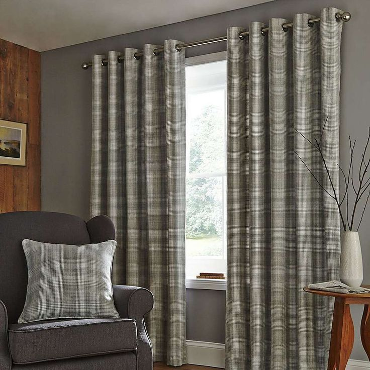 Fjord Grey Lined Eyelet Curtains   Dunelm
