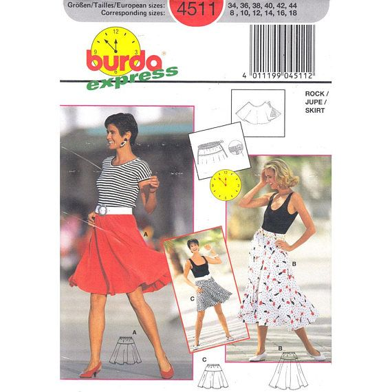 Circle Skirt Pattern Burda 4511 Above or Below Knee Flared