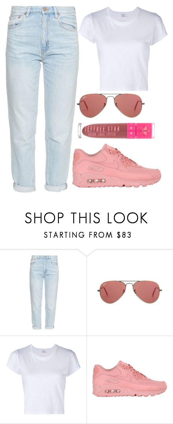 """""""."""" by queenme10 ❤ liked on Polyvore featuring M.i.h Jeans, Ray-Ban, RE/DONE, NIKE and Jeffree Star"""