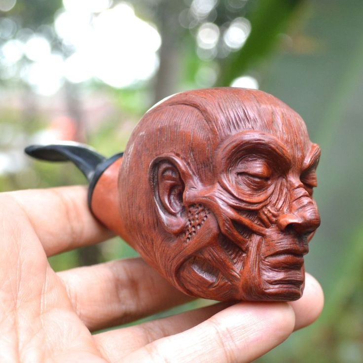 Hand Carved Wooden Tobacco Pipes Cigarette Human Face Muscles Carving Ebonit