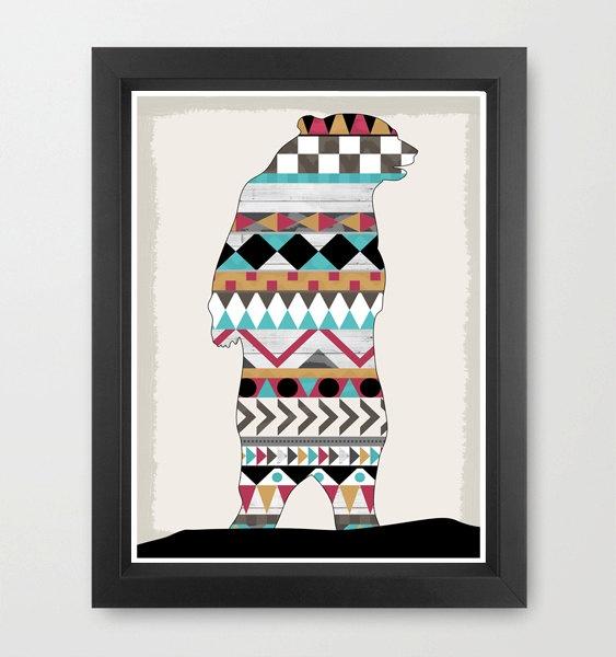 Southwestern Native Bear Boho Navajo Aztec  - A4 Modern Art Print. £11.00, via Etsy.