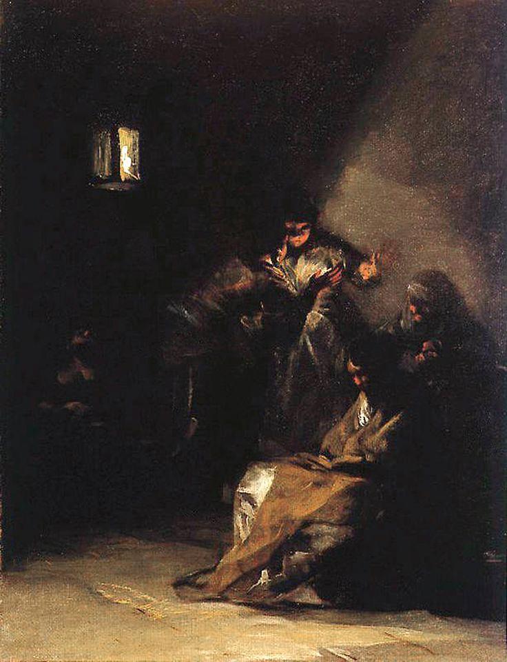 """Francisco de Goya: """"Interior de prisión"""". Oil on canvas, 40 x 32 cm, c. 1808-12. Marqués de la Romana Collection, Madrid, Spain"""