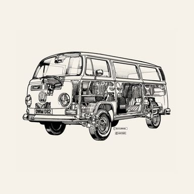 White Camper Van by Terry Davey  Canvases - Shop - Haynes Manuals - Surface View