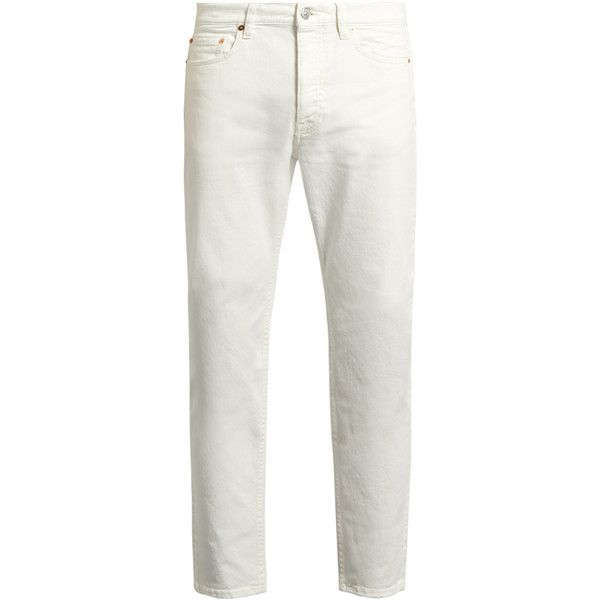 Acne Studios Town straight-leg jeans ($250) ❤ liked on Polyvore featuring men's fashion, men's clothing, men's jeans, white, mens stretch denim jeans, mens white jeans, mens straight leg jeans, mens vintage jeans and mens white stretch skinny jeans