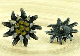 1pc Flower Czech Findings Matte Aged Dark Antique Silver Gold Bohemian Button Rustic Handmade 28mm