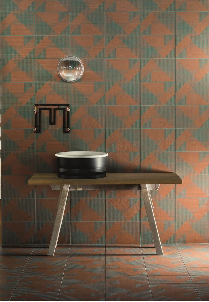 Porcelain stoneware wall/floor #tiles TIERRAS INDUSTRIAL FRAME RUST by MUTINA | #design Patricia Urquiola